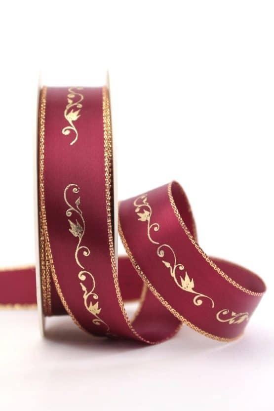 Satinband Ornament, bordeaux-gold, 25 mm breit - weihnachtsband, satinband, bedrucktes-satinband, bedruckte-weihnachtsbander