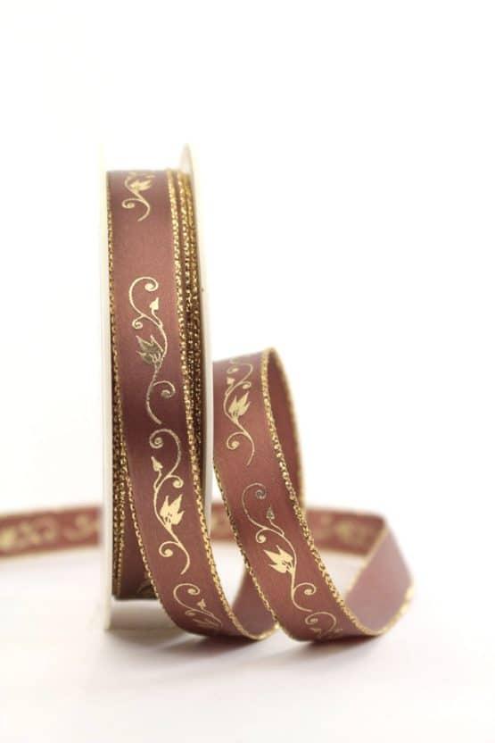 Satinband Ornament, braun-gold, 15 mm breit - weihnachtsband, satinband, bedrucktes-satinband, bedruckte-weihnachtsbander