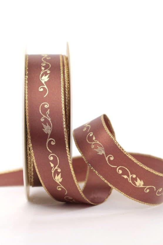 Satinband Ornament, braun-gold, 25 mm breit - weihnachtsband, satinband, bedrucktes-satinband, bedruckte-weihnachtsbander