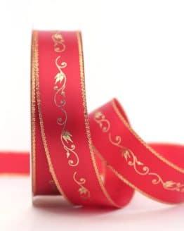 Satinband Ornament, rot-gold, 25 mm breit - weihnachtsband, satinband, bedrucktes-satinband, bedruckte-weihnachtsbander