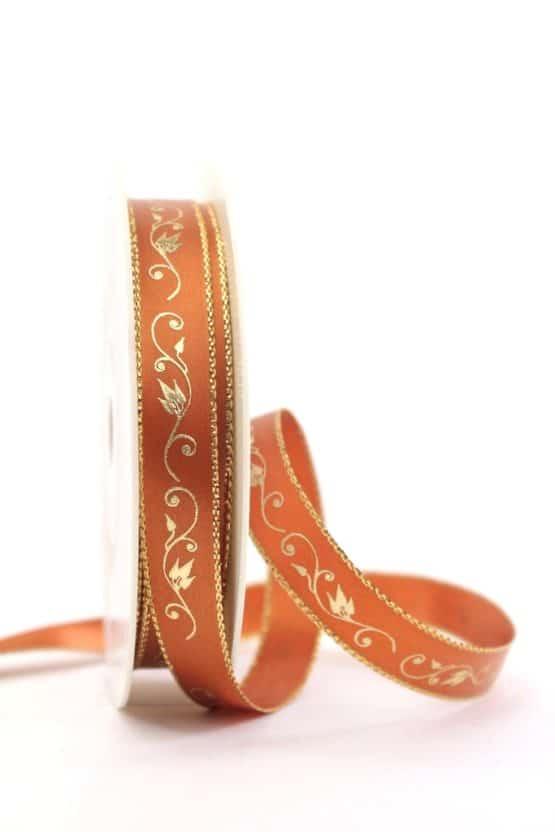 Satinband Ornament, terra-gold, 15 mm breit - weihnachtsband, satinband, bedrucktes-satinband, bedruckte-weihnachtsbander