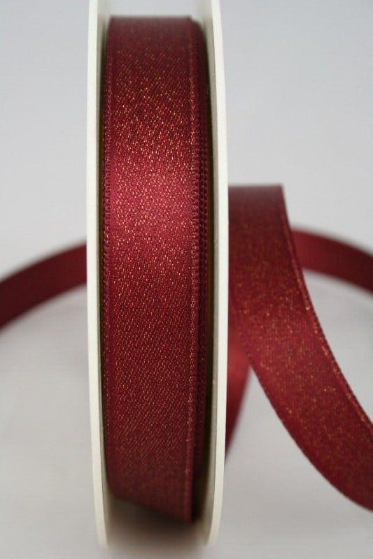 Satinband mit Goldglimmer, bordeaux, 15 mm breit - weihnachtsband