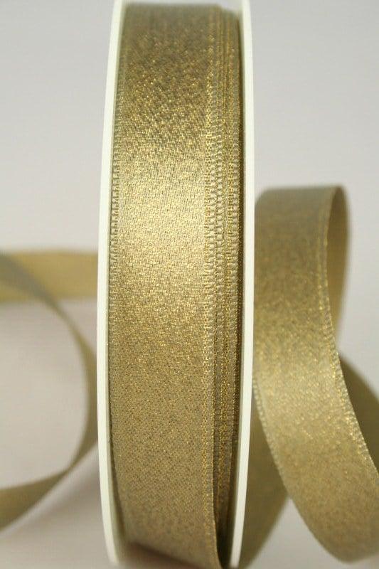 Satinband mit Goldglimmer, altgold, 15 mm breit - weihnachtsband