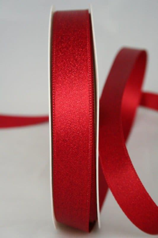Satinband mit Goldglimmer, rot, 15 mm breit - weihnachtsband