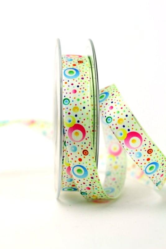 Satinband bunte Kreise, 15 mm breit - sonderangebot, satinband, bedrucktes-satinband, bedruckte-everyday-bander, 20-rabatt