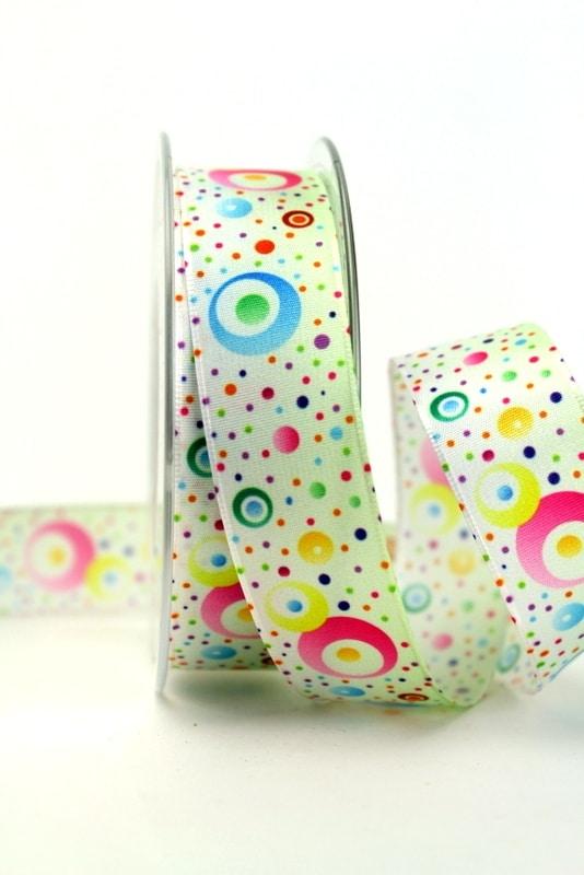 Satinband bunte Kreise, 25 mm breit - sonderangebot, satinband, bedrucktes-satinband, bedruckte-everyday-bander, 20-rabatt