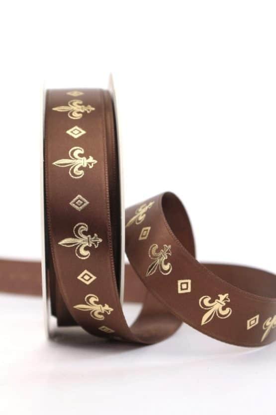 Satinband franzözische Lilie, braun-gold, 25 mm breit - weihnachtsband, satinband, bedrucktes-satinband, bedruckte-weihnachtsbander
