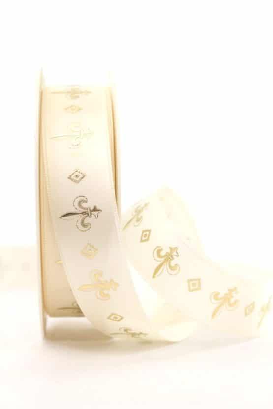 Satinband franzözische Lilie, creme-gold, 25 mm breit - weihnachtsband, satinband, bedrucktes-satinband, bedruckte-weihnachtsbander