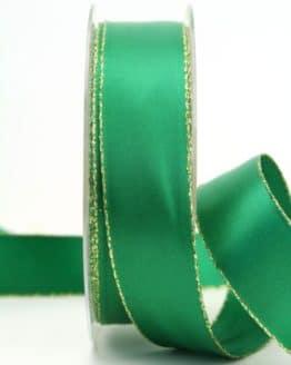 Satinband mit Goldkante, grün, 25 mm breit - satinband-goldkante, satinband
