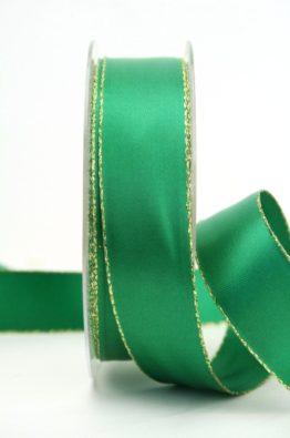 Satinband grün mit Goldkante - 25 mm (70147-25-555)