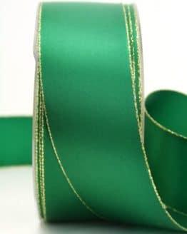 Satinband mit Goldkante, grün, 40 mm breit - satinband-goldkante, satinband