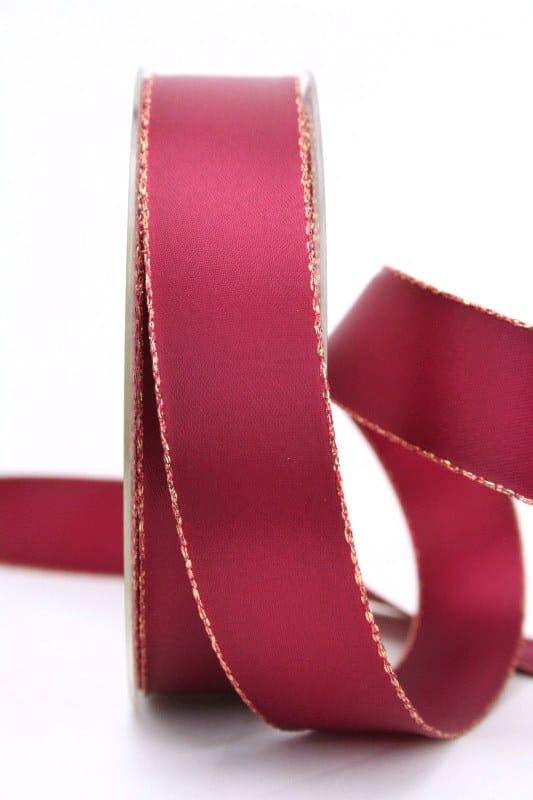 Satinband mit Goldkante, kardinal, 25 mm breit - satinband-goldkante, satinband