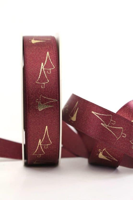 Satinband Glitter m. Tannenbaum, bordeaux-gold, 25 mm breit - weihnachtsband, satinband, bedrucktes-satinband, bedruckte-weihnachtsbander