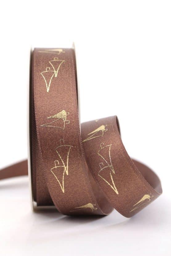 Satinband Glitter m. Tannenbaum, braun-gold, 25 mm breit - weihnachtsband, satinband, bedrucktes-satinband, bedruckte-weihnachtsbander