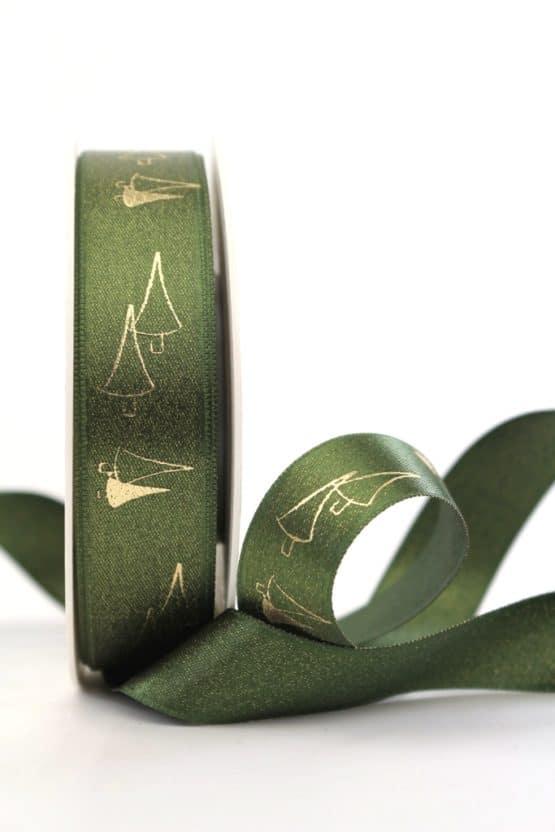 Satinband Glitter m. Tannenbaum, grün-gold, 25 mm breit - weihnachtsband, satinband, bedrucktes-satinband, bedruckte-weihnachtsbander