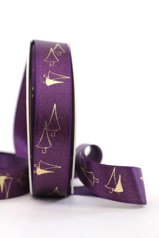 Satinband Glitter m. Tannenbaum, lila-gold, 25 mm breit - weihnachtsband, satinband, bedrucktes-satinband, bedruckte-weihnachtsbander
