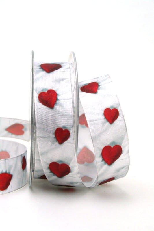 Satinband mit roten Herzen, 25 mm breit - satinband, hochzeitsbaender, bedrucktes-satinband, bedruckte-everyday-bander, valentinstag, muttertag