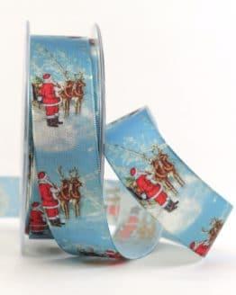 Satinband Nostalgische Weihnacht, blau, 25 mm breit - weihnachtsband, satinband, bedrucktes-satinband, bedruckte-weihnachtsbander