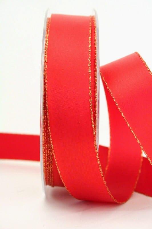 Satinband rot mit Goldkante, 25 mm breit - satinband-goldkante, satinband