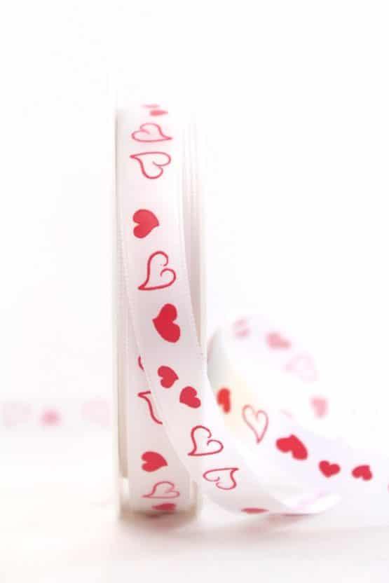 Schmales Satinband mit roten Herzen, 15 mm breit - satinband, hochzeitsbaender, bedrucktes-satinband, bedruckte-everyday-bander, valentinstag, muttertag