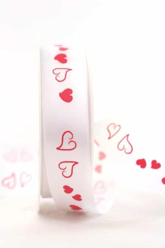 Weißes Satinband mit roten Herzen, 25 mm breit - satinband, hochzeitsbaender, bedrucktes-satinband, bedruckte-everyday-bander, valentinstag, muttertag