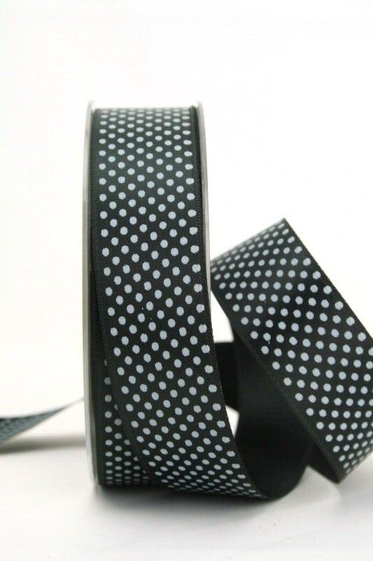 Satinband mit Pünktchen, 25 mm, schwarz - satinband, bedrucktes-satinband, bedruckte-everyday-bander