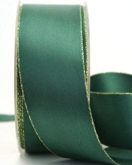 Satinband mit Goldkante, tannengrün, 40 mm breit - satinband-goldkante, satinband