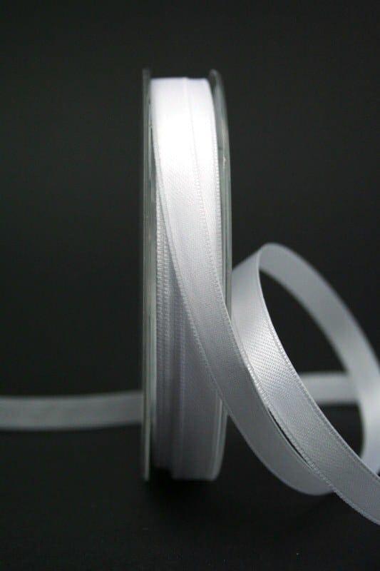 Doppelsatinband weiß, 10 mm breit - hochzeitsbaender