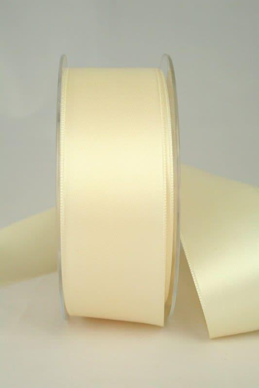 Doppel-Satinband uni creme, 40 mm breit - satinband, hochzeitsbaender