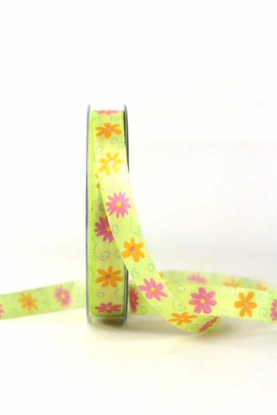 Satinband mit bunten Blüten, gelb, 15 mm - satinband, bedrucktes-satinband, bedruckte-everyday-bander