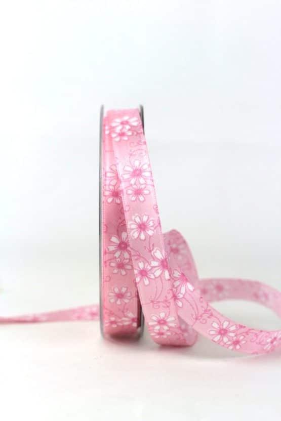 Satinband mit Blüten, rosa, 15 mm breit - satinband, bedrucktes-satinband, bedruckte-everyday-bander