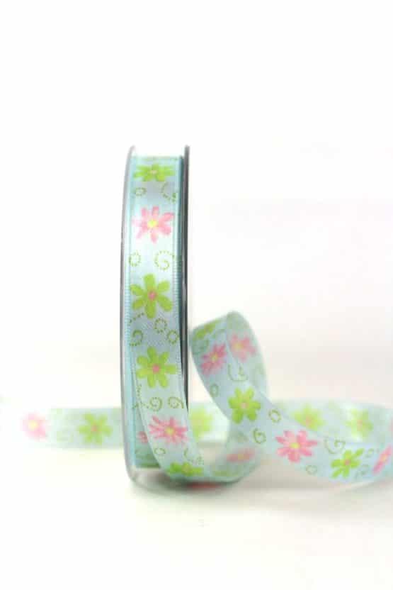 Satinband mit bunten Blüten, türkis, 15 mm - satinband, bedrucktes-satinband, bedruckte-everyday-bander