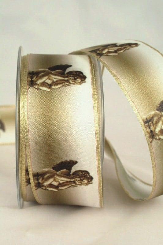 Satinband Engel, gold, 40 mm breit - weihnachtsband, satinband, bedrucktes-satinband, bedruckte-weihnachtsbander