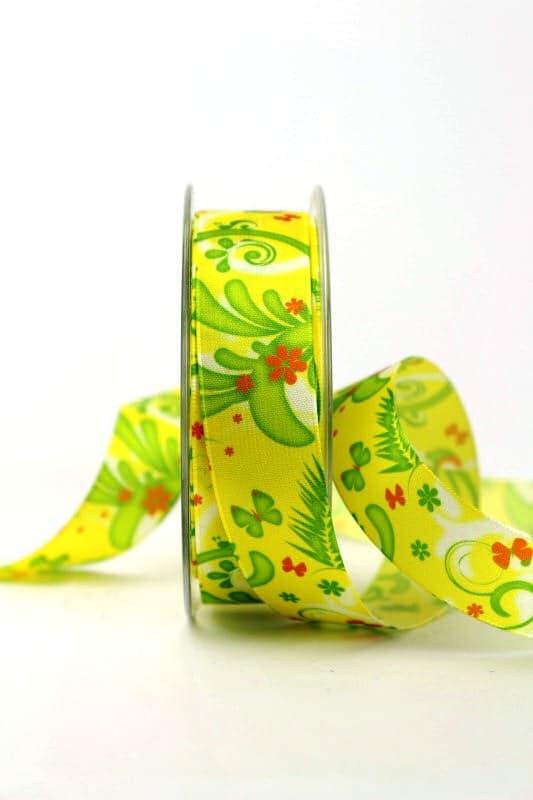 Satinband mit Fantasieornament, gelb, 25 mm breit - sonderangebot, satinband, bedrucktes-satinband, bedruckte-everyday-bander, 20-rabatt