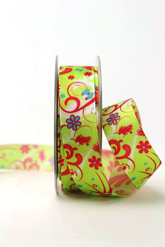 Satinband mit Fantasieornament, grün, 25 mm breit - sonderangebot, satinband, bedrucktes-satinband, bedruckte-everyday-bander, 20-rabatt