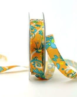Satinband mit Fantasieornament, orange, 15 mm breit - sonderangebot, satinband, bedrucktes-satinband, bedruckte-everyday-bander, 20-rabatt