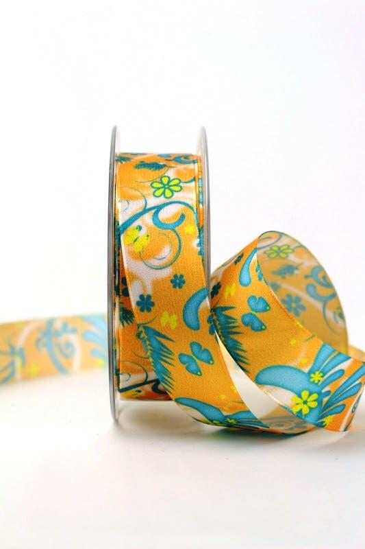 Satinband mit Fantasieornament, orange, 25 mm breit - sonderangebot, satinband, bedrucktes-satinband, bedruckte-everyday-bander, 20-rabatt