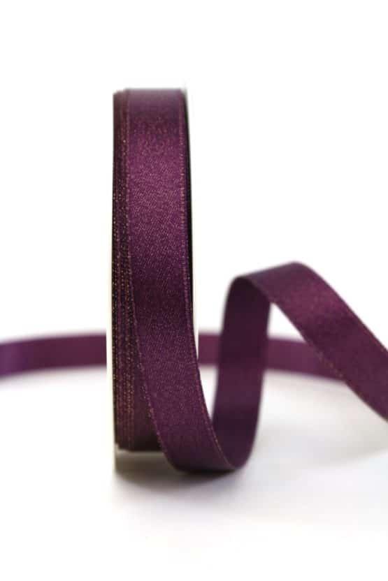 Satinband mit Goldglimmer, aubergine, 15 mm breit - weihnachtsband