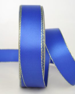 Satinband mit Goldkante, blau, 25 mm breit - satinband-goldkante, satinband