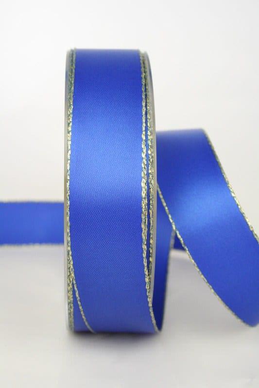 Satinband mit Goldkante, blau, 25 mm breit - satinband-goldkante, satinband