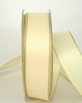 Satinband mit Goldkante, creme, 25 mm breit - satinband-goldkante, satinband