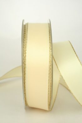 Satinband mit Goldkante 25mm creme (70147-25-420)