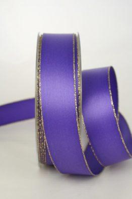 Satinband mit Goldkante 25mm lila (70147-25-615)