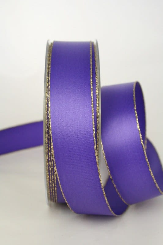 Satinband mit Goldkante, lila, 25 mm breit - satinband-goldkante, satinband