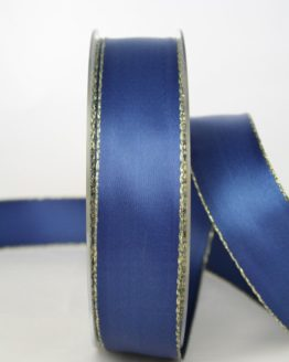 Satinband mit Goldkante, marineblau, 25 mm breit - satinband-goldkante, satinband