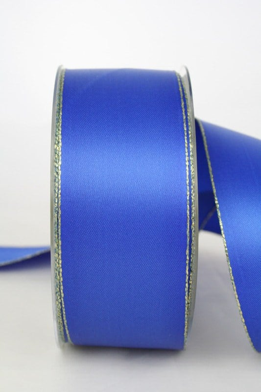 Satinband mit Goldkante, blau, 40 mm breit - satinband-goldkante, satinband