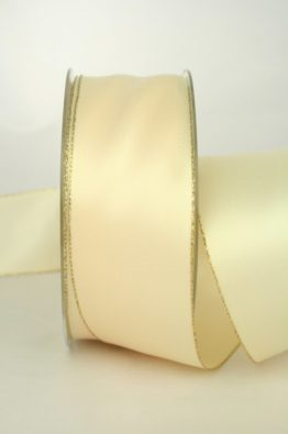 Satinband mit Goldkante 40mm creme (70147-40-420)