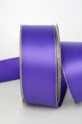 Satinband mit Goldkante 40mm lila (70147-40-615)