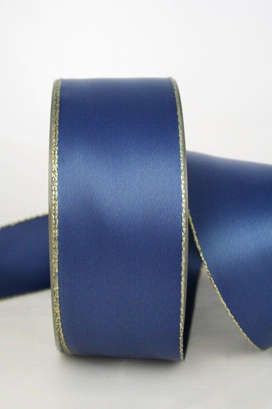 Satinband mit Goldkante, marineblau, 40 mm breit - satinband-goldkante, satinband