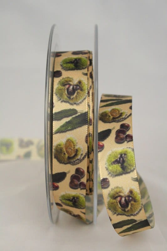 Satinband Kastanien, 15 mm breit - satinband, bedrucktes-satinband